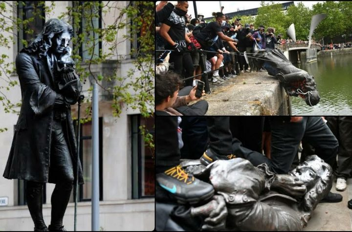 Protesters In Bristol Pulled Down Statue Of Slave Trader Edward Colston And Threw Into Harbour