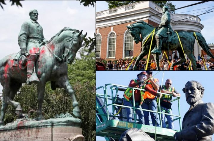 Charlottesville Pulls Down Monuments Of Confederate Generals Robert E. Lee And Stonewall Jackson
