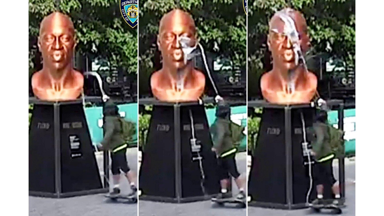 Video Shows White Man Vandalizing George Floyd Monument Days After It Was Relocated To Union Square